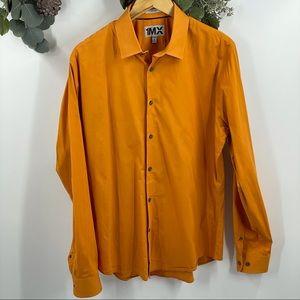 Express   1MX Fitted Dress Shirt, Orange, Sz L
